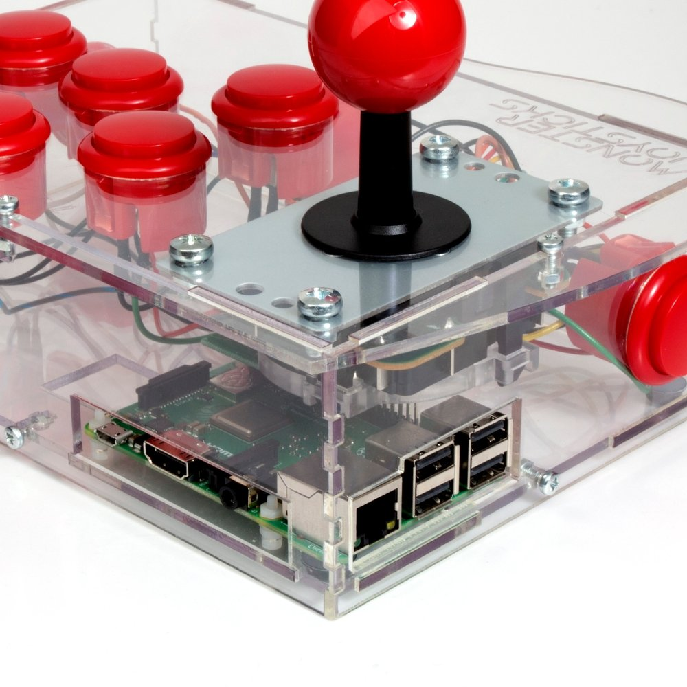 Clear BASIC Arcade Controller Kit for Raspberry Pi - Cherry Red