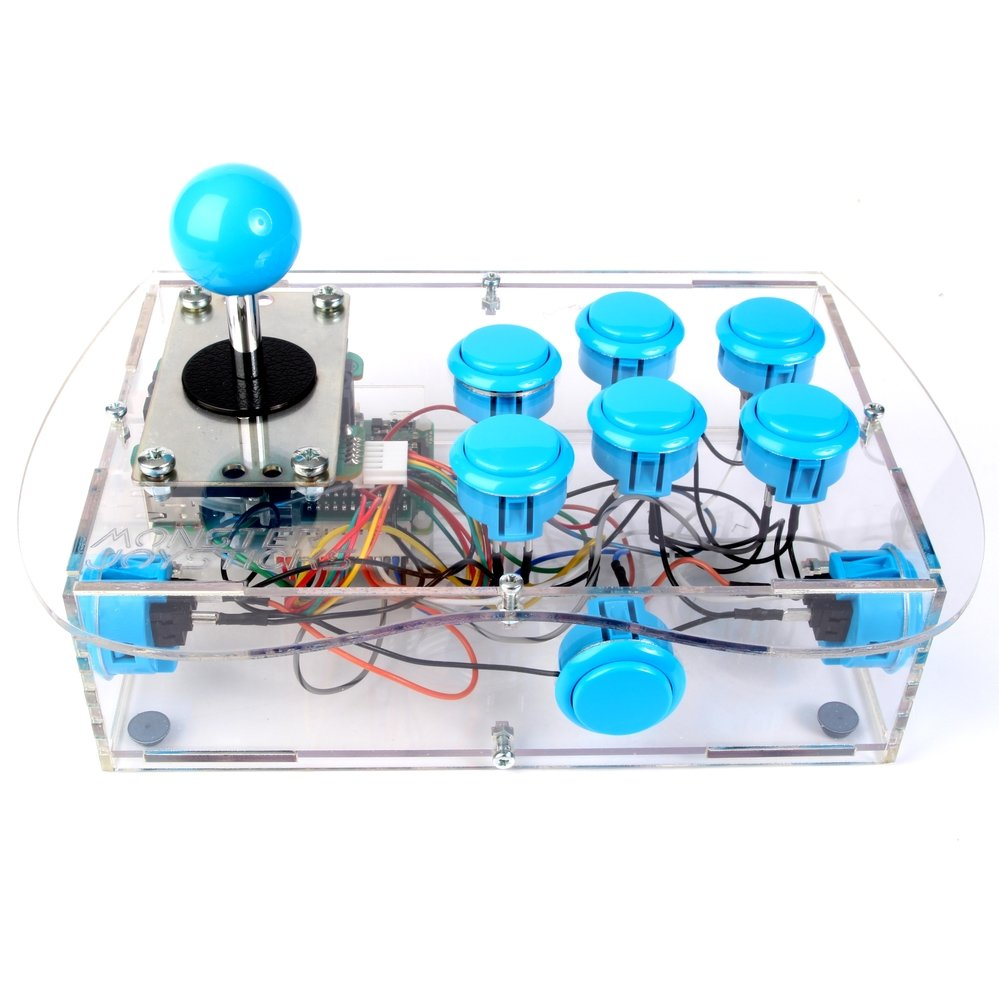 Clear Deluxe Arcade Controller Kit for Raspberry Pi - Ice Blue