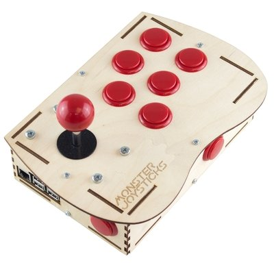 Plywood Deluxe Arcade Controller Kit for Raspberry Pi - Cherry Red