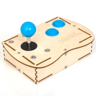 Plywood Mini Monster Retro Gaming Joystick Kit - Ice Blue